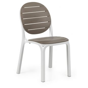 Erica - Garden chair with white structure and seat - backrest in dove colour