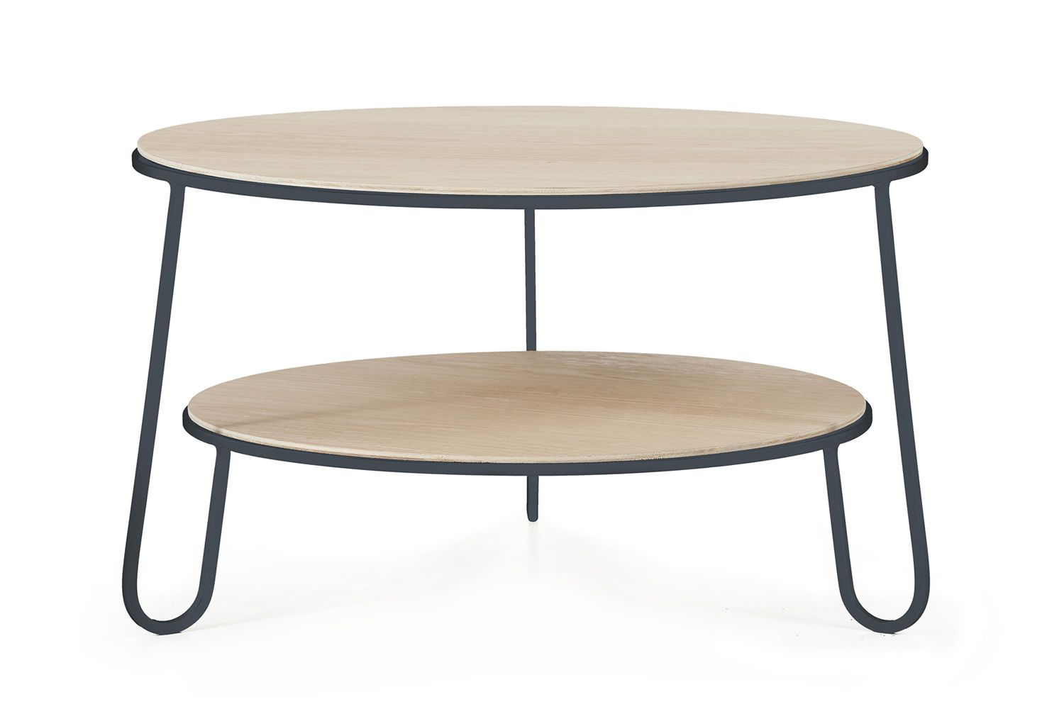 Sofa table in slate grey varnished metal, with wooden top, ∅ 70 cm