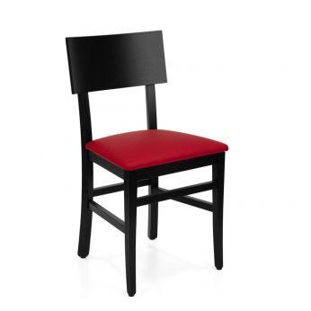 MU212 - Wooden chair in black lacquered, coated with red imitation leather