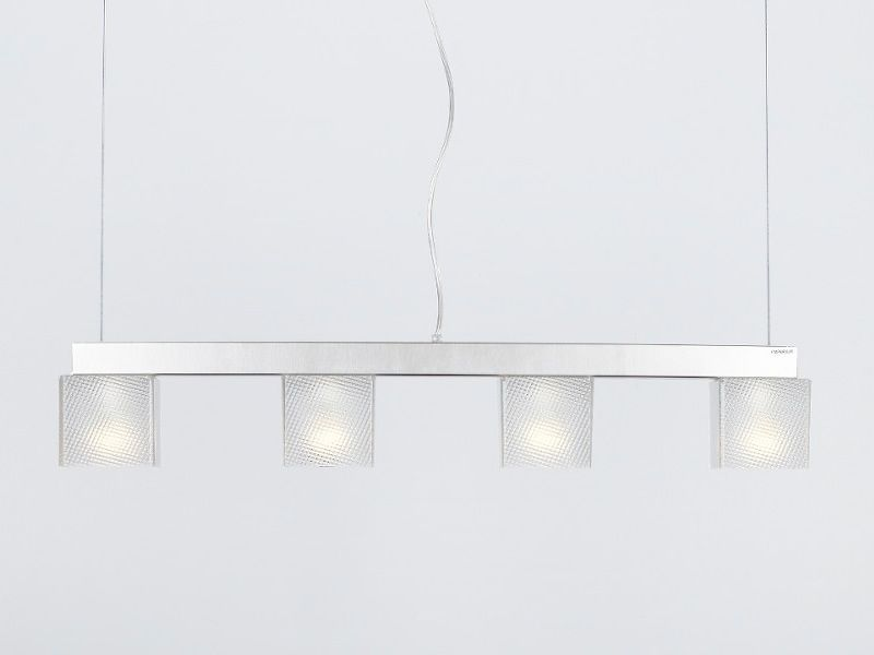 Suspension lamp with four spectrall metacrylate lampshades
