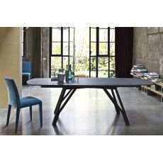 Wonder - Design table Bontempi Casa, in metal with 170x106 cm extendible top, available in different finishes