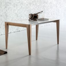 Anassimene - Designer wooden table, fixed or extendible, with top in glass, available in different dimensions