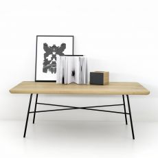 Disc-T - Universo Positivo metal coffee table with wooden top