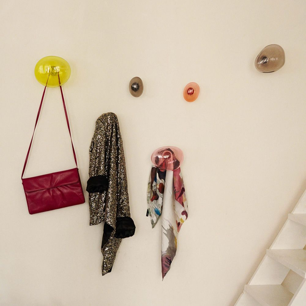 Coat hanger made of blown glass, available in different dimensions and colours