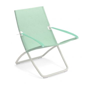 Snooze - White varnished metal beach chair, net in lemongrass colour
