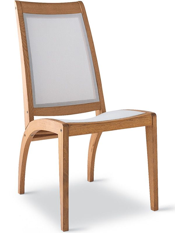 Garden chair in robinia wood and white textilene