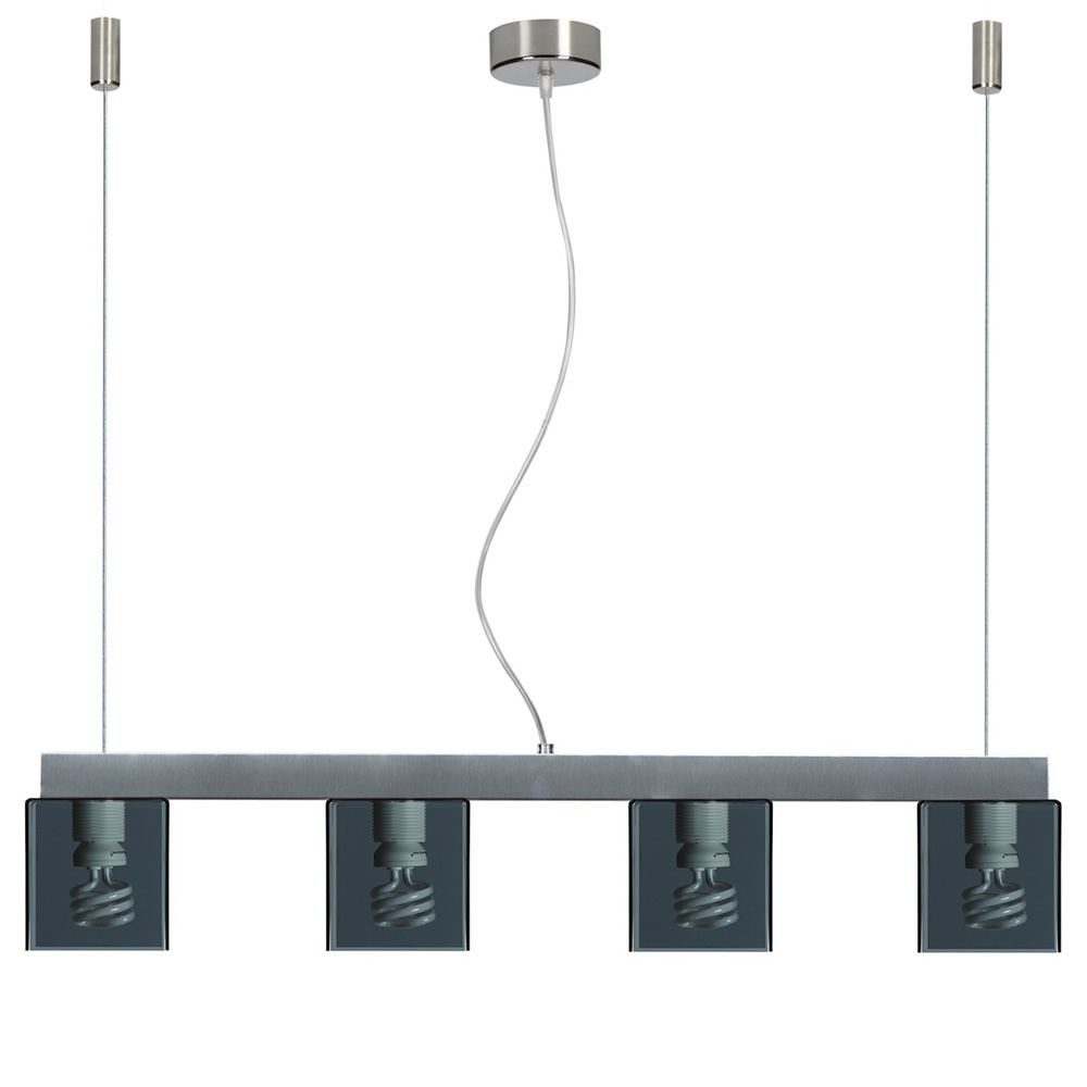 Suspension lamp with four smoke grey metacrylate lampshades