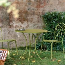 Pigalle - Emu table made of metal, for garden, round top of 60 or 80 cm