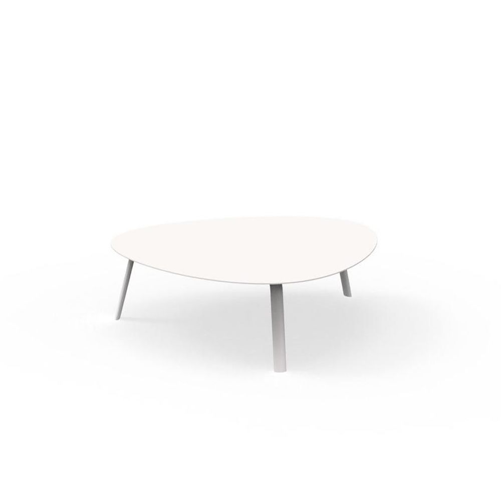 Coffee table in white painted aluminum (Round table dimension: ∅100 cm)