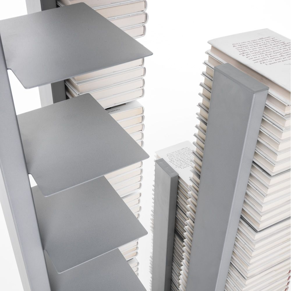 Modern bookcase in metal, in aluminium grey colour