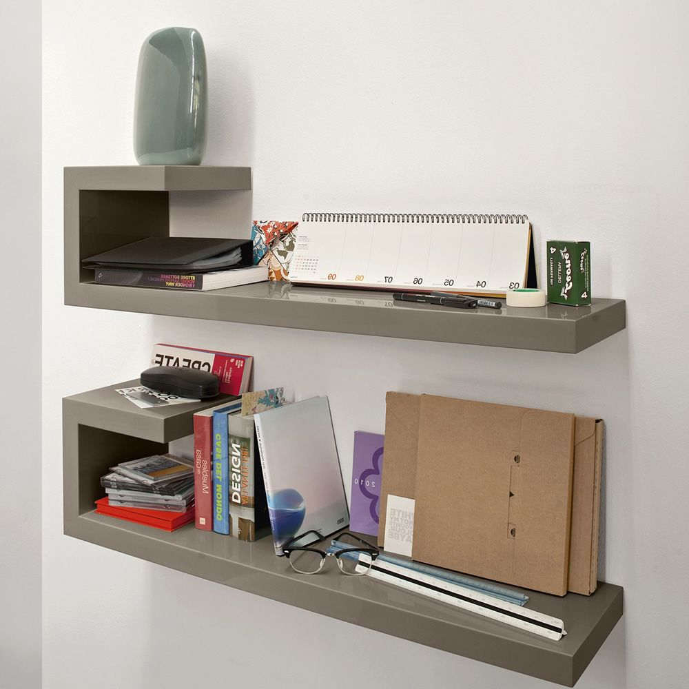 Modular shelves with lacquered frame, glossy dove-grey colour (orientation: left)