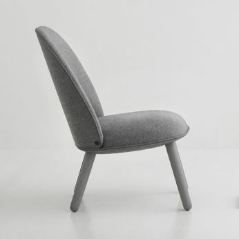 Ace-L - Lounge chair made of stained beech wood, padded seat covered with Nist fabric in grey colour