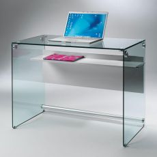 Scriba - Writing desk in transparent glass with laminated modesty panel and shelf