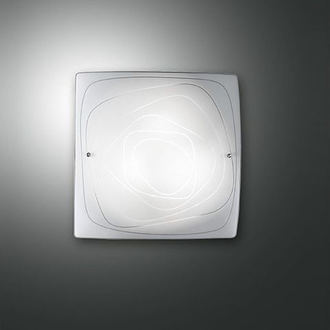 White glass wall lamp, size S (30 x 30 cm)