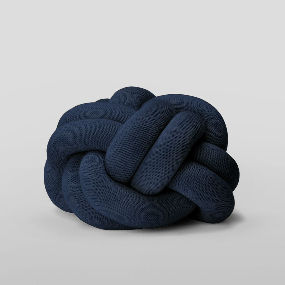 Design cushion covered with wool blend fabric, navy blue colour