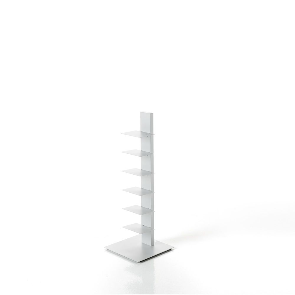 Modern bookcase in metal, in white colour, 97 cm height