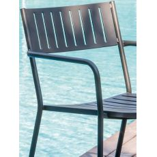 Bridge P - Emu armchair made of metal, stackable, for garden, in several colours