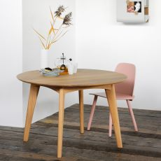 Osso-R - Ethnicraft fixed wooden table, round top diameter 120 cm