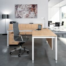 Office X4 01 - L-shaped desk for office, with metal frame and laminate top,