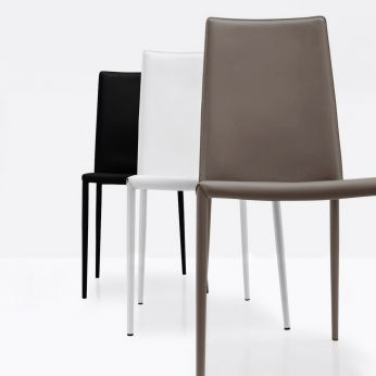 CB1257 Boheme - Chair made of metal and bonded leather, black, optic white and dove-grey colours