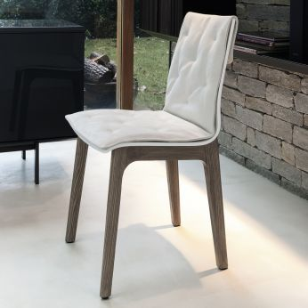 Alfa wood soft - Chair in elm wood, white lacquered shell  and cushon in white microfiber