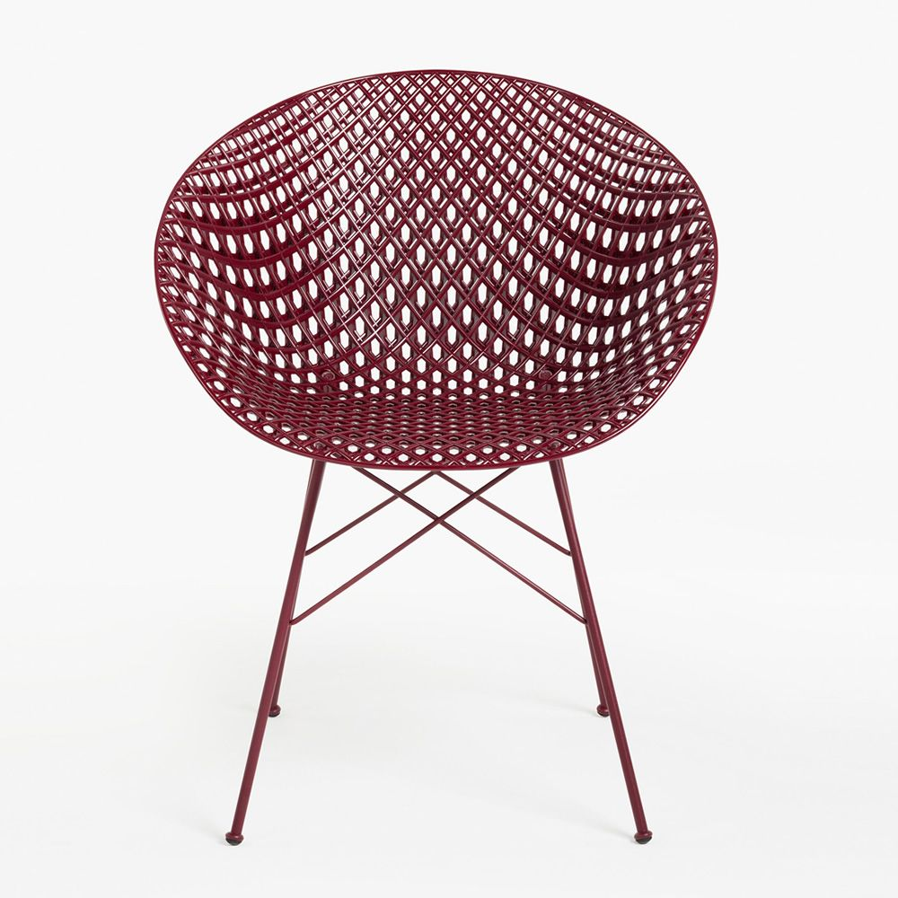 Kartell chair in plum varnished metal, plum polycarbonate seat