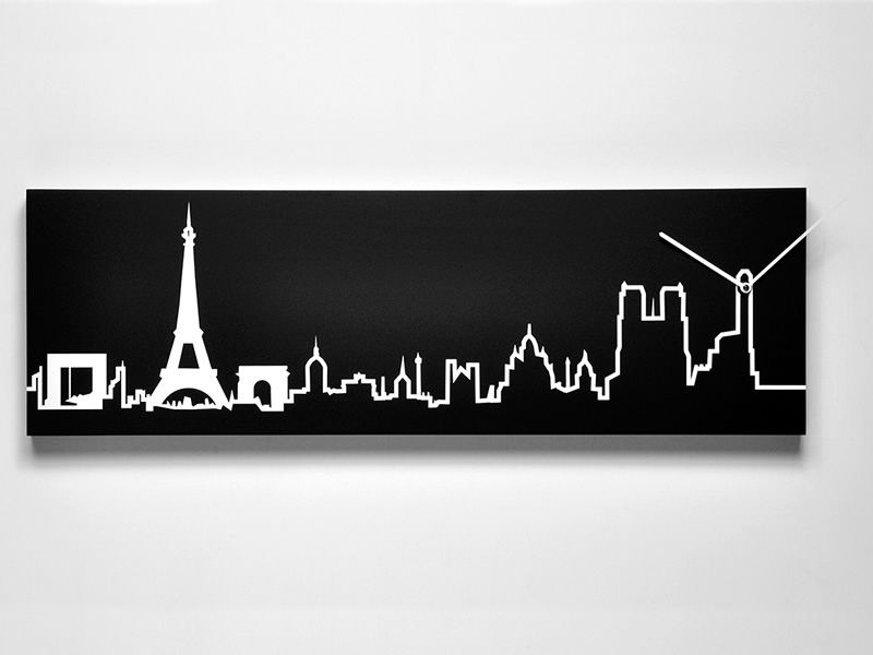 Wall clock in black colour wood, Paris skyline
