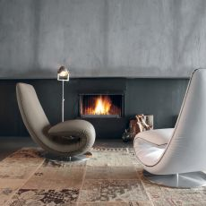 Ricciolo 7865 - Tonin Casa design armchair-chaise longue, removable covering, different upholsteries available