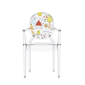Lou Lou Kids - Design chair for children by Kartell, transparent polycarbonate with drawing pattern