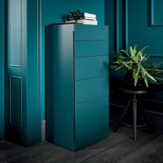 Blade-D - Dall'Agnese high chest of drawers made of wood, different finishes available, six drawers