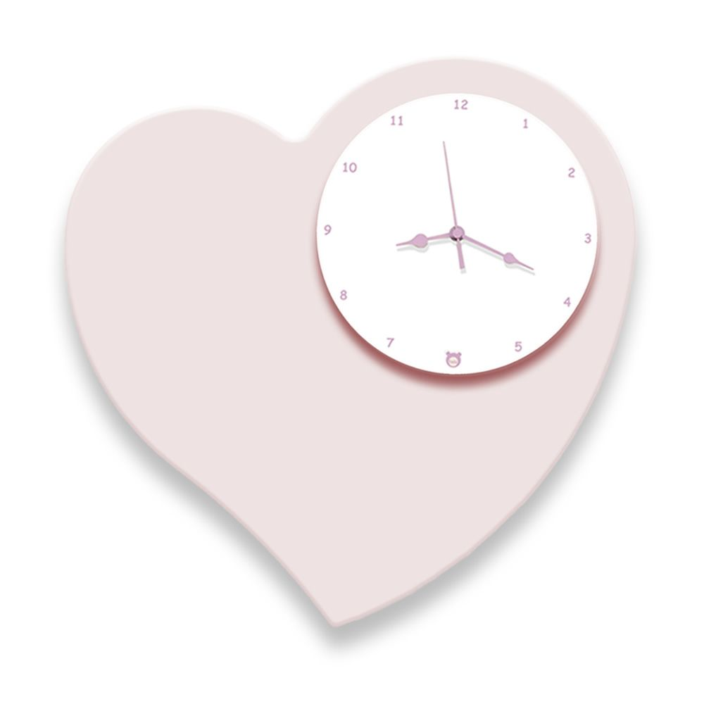 Wanduhr aus MDF-Holz in Lackiert-Rosa
