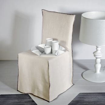 Ghost 23 - Chair with fabric covering, Stone Washed in cream colour (upon request)