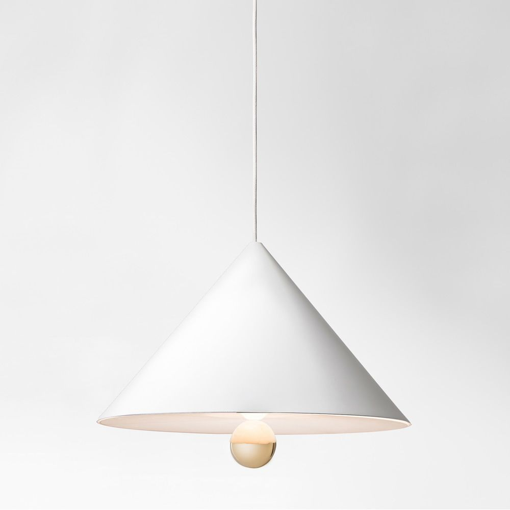 Suspension lamp made of white metal and plexiglass (Size: Big)