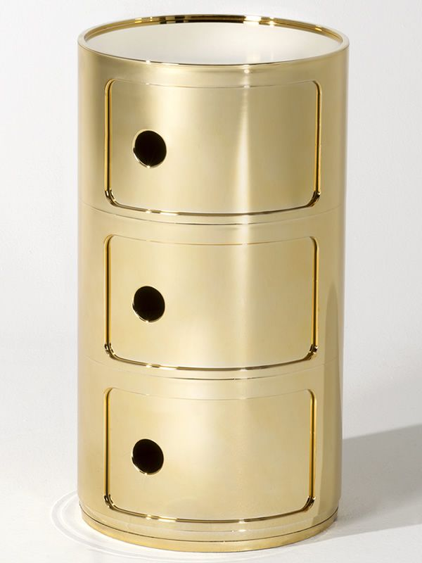 Design Kartell container equipped with three drawers, gold colour