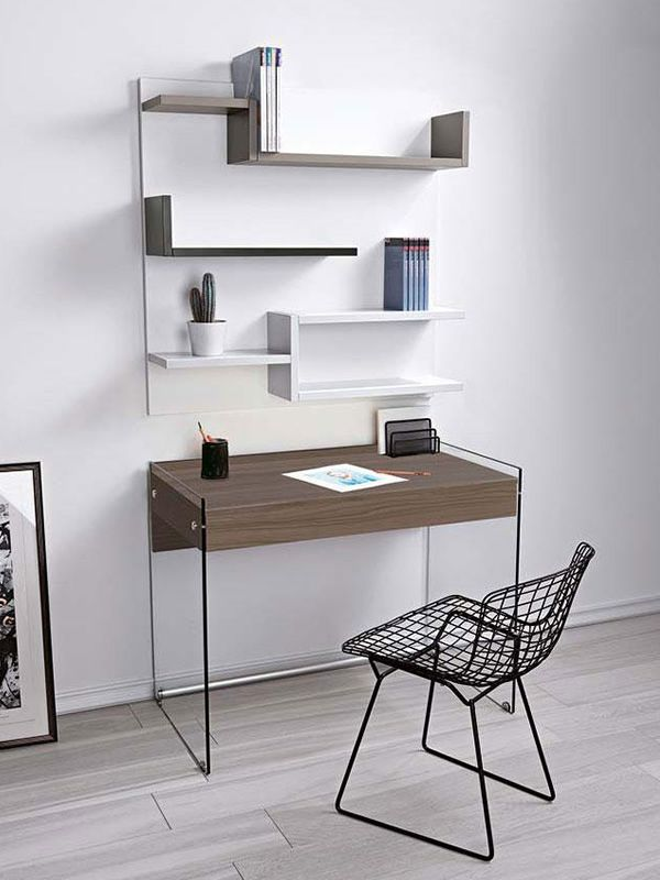Composition with writing desk and bookcase
