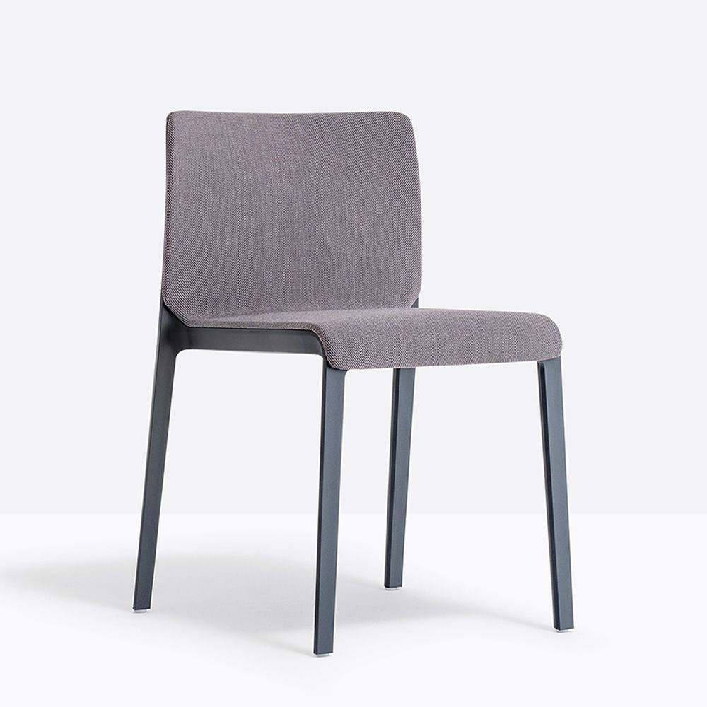 Anthracite gray polyethylene chair with padded seat and backrest in anthracite gray fabric