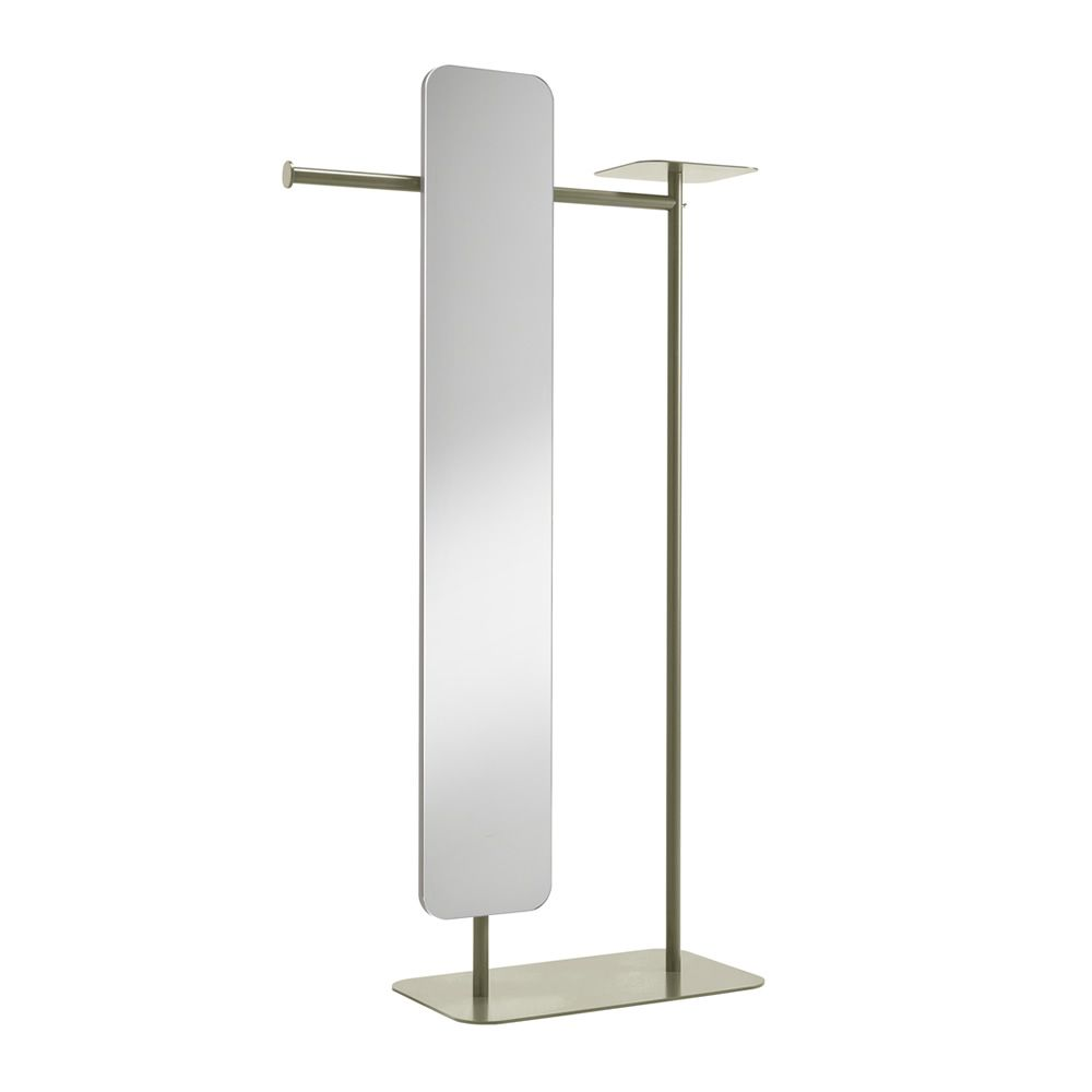 Varnished metal valet stand, mud grey colour, with mirror, L model