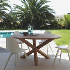Bridge - T - Mahogany wood table for garden, available in several sizes