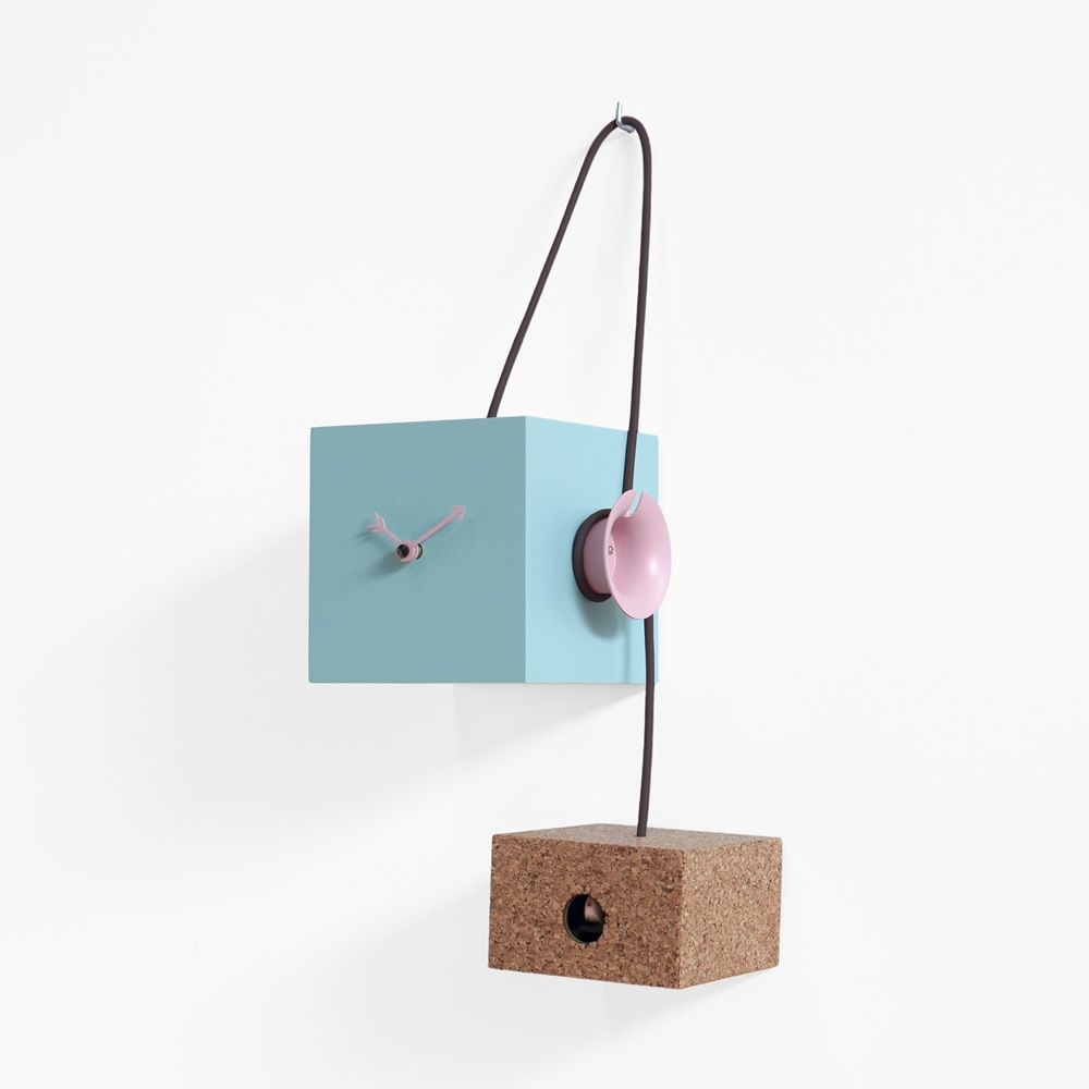 Wall or table cuckoo clock made of lacquered wood in light blue colour and cork