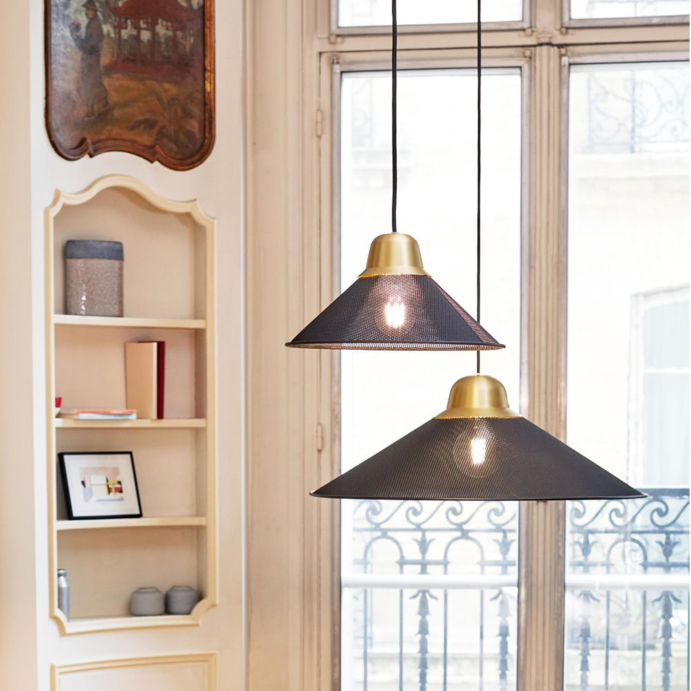 Suspension lamp made of black painted metal (Size: Small, Big)