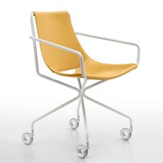 Apelle D - Midj metal chair, hide seat, also with armrests