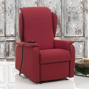 Bucaneve - Electric and adjustable relax armchair with Lift mechanism, different upholsteries and colours available, totally removable covering, also with Roller system and massage kit