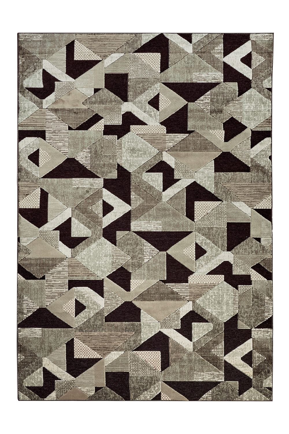 Contemporary rug in vegetal silk and acrylic fiber