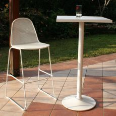 RIG16-SG - Bar stool, in metal, stackable, seat height of 75 cm, for outdoor