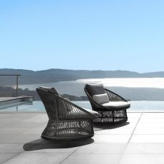 Rope - P - Armchair for outdoor in teak and aluminium, cushions with removable covering, also for garden