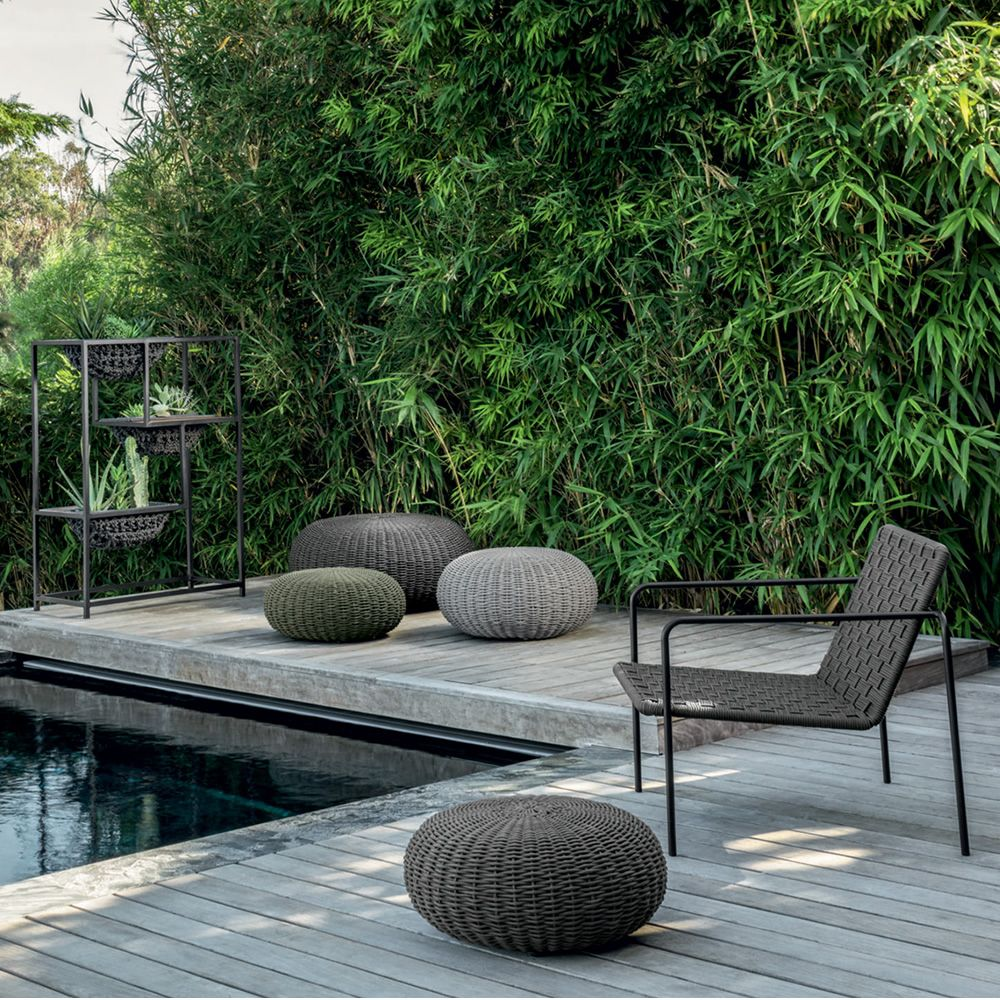 Pouf for outdoor with light grey, dark grey, green fabric (Size: S, M, L)