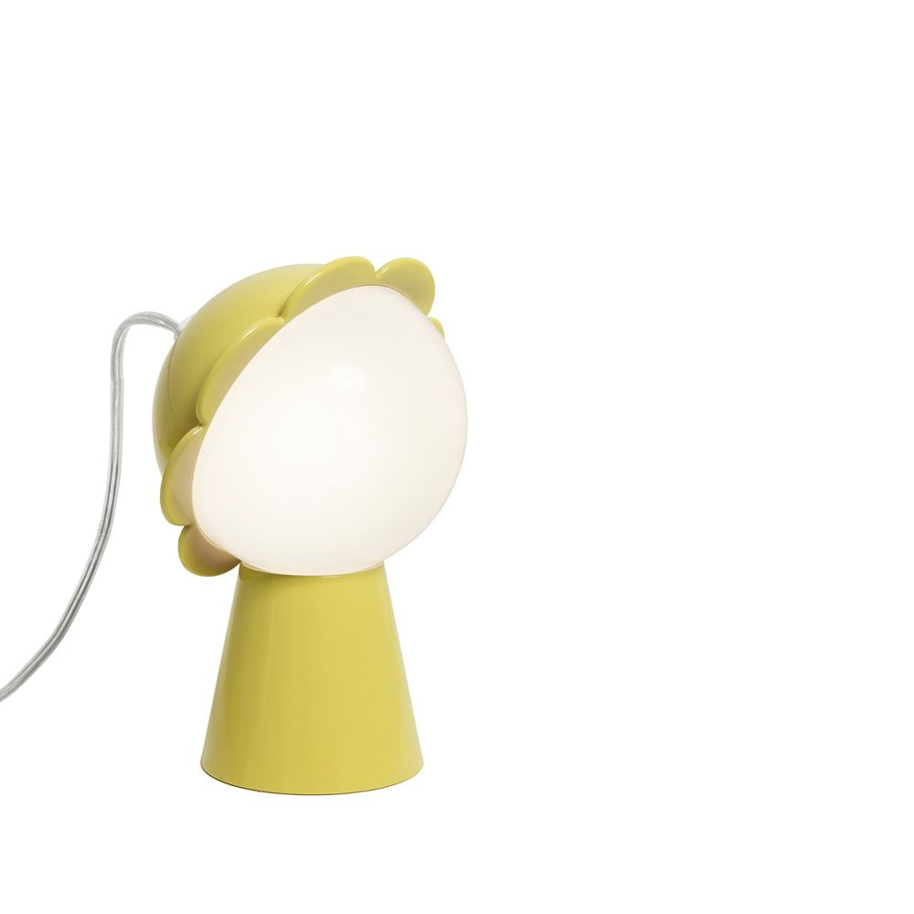 Flower-shaped table lamp in yellow colour