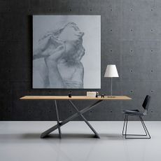 Emme - Modern wooden table, glass or wooden top 200x100 cm