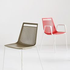 Akami - Stacking metal chair with technopolymer seat, with or without armrests, available in different colours, also for outdoor