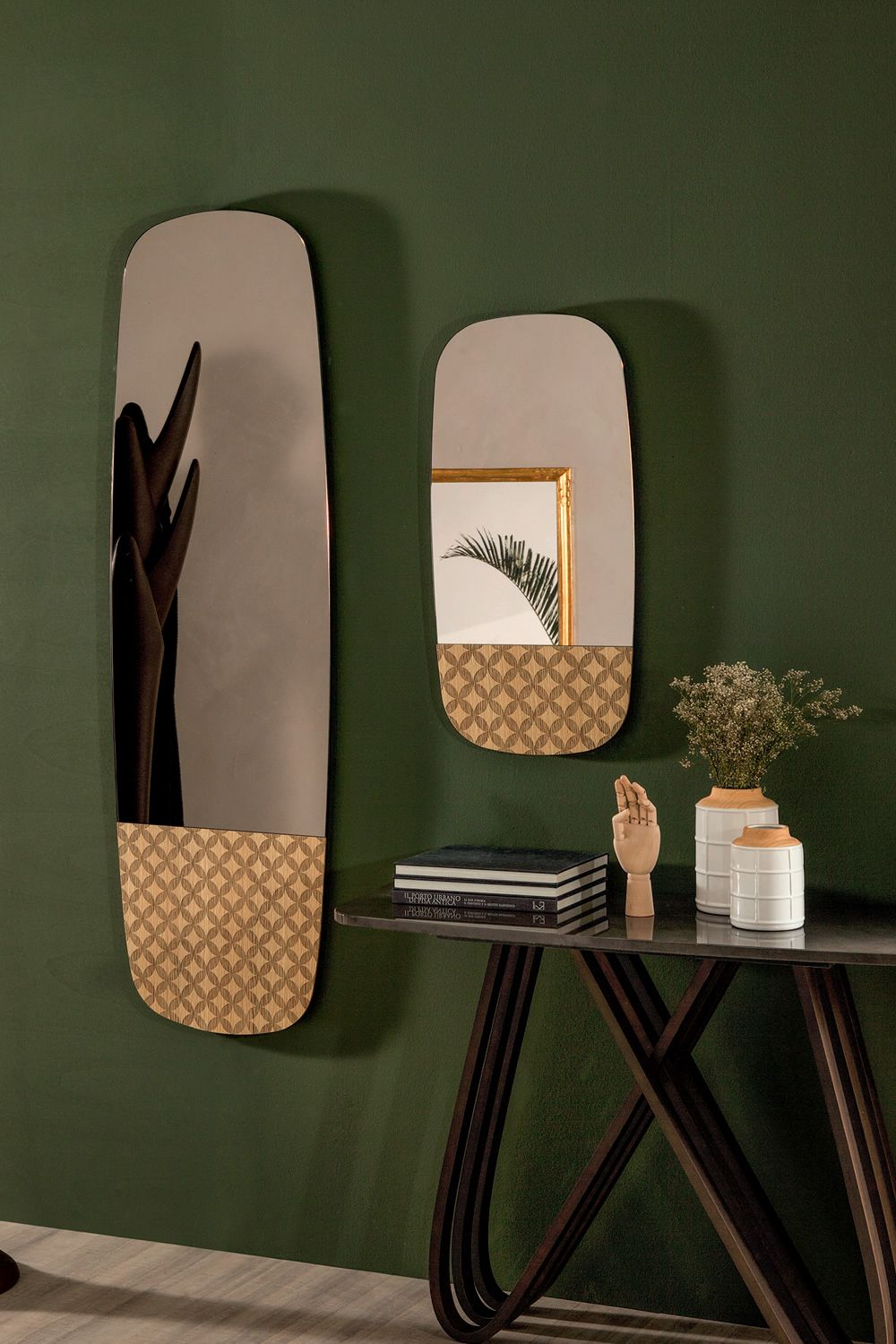Wooden mirror, natural oak finish, matched with mirror 160 x 50 cm (upon request)